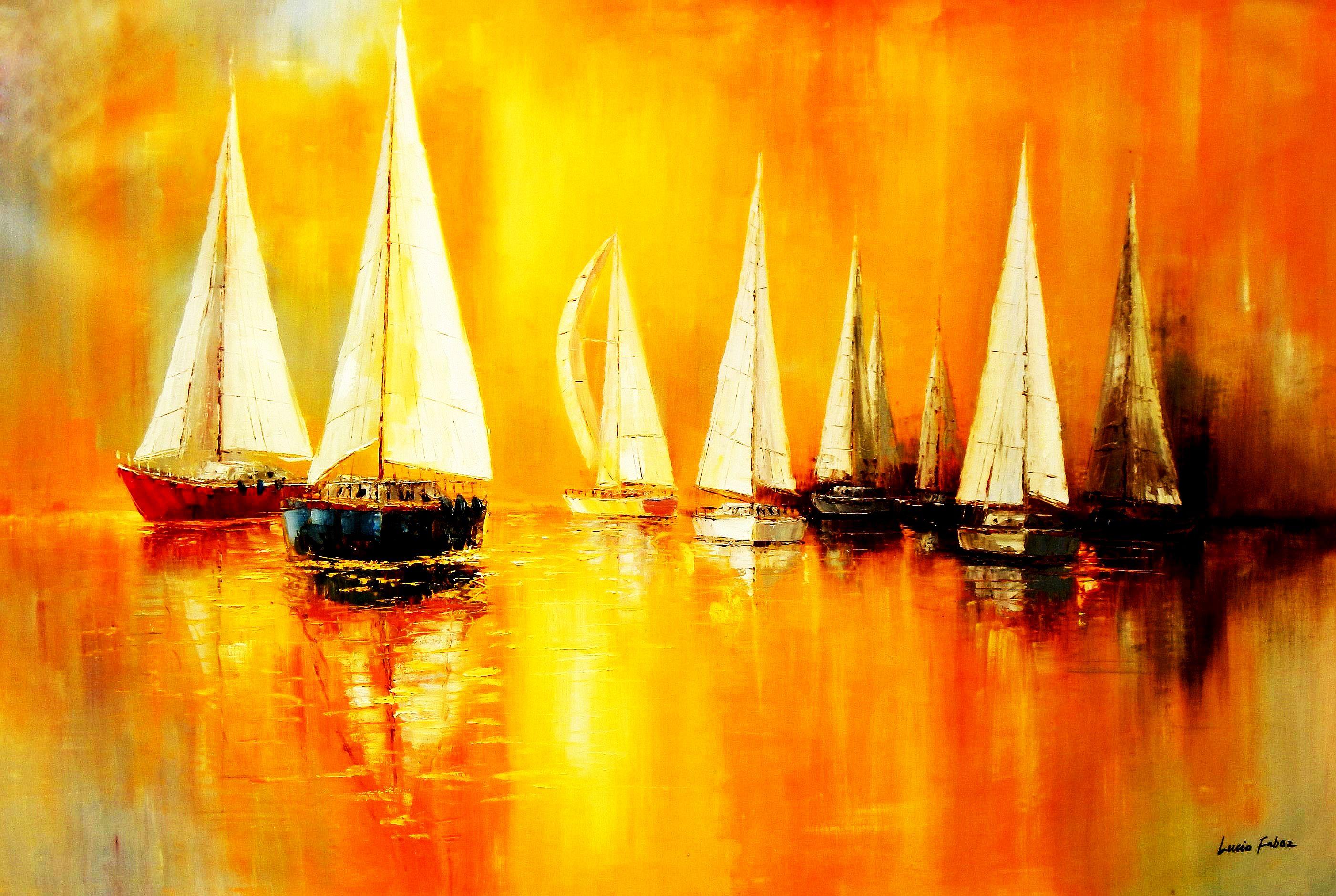 Segelboote auf dem Gardasee p90907 120x180cm modernes Gemälde handgemalt