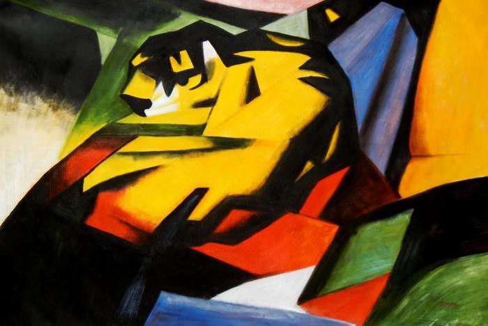 Franz Marc - Der Tiger p90998 120x180cm Expressionismus Ölgemälde handgemalt