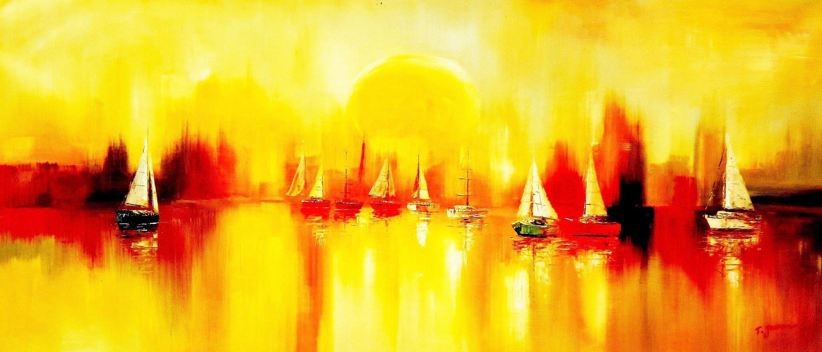 Segelboote auf dem Gardasee t90849 75x180cm modernes Gemälde handgemalt