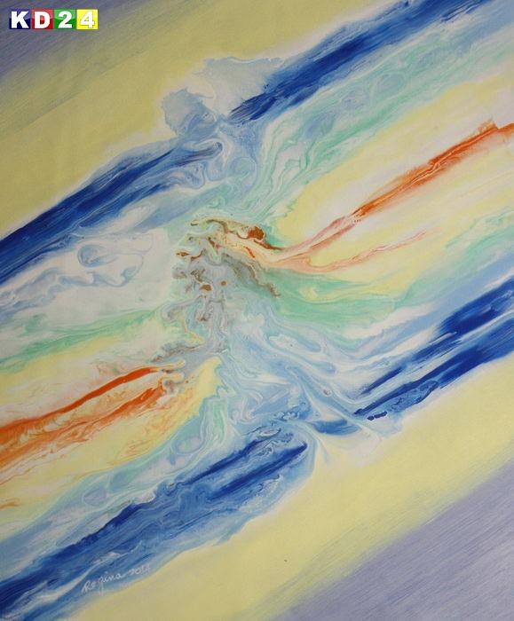 Abstrakt - Fraktale Energie c88907 50x60cm abstraktes Ölgemälde