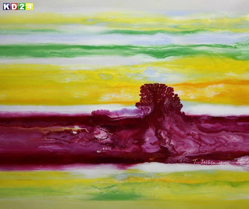 Abstrakt - Fraktale Energie c88910 50x60cm abstraktes Ölgemälde