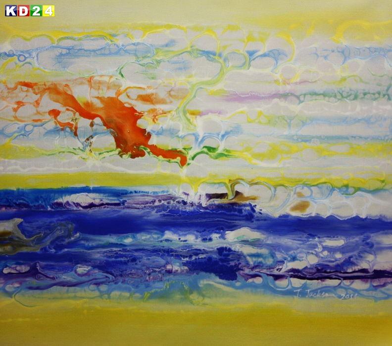 Abstrakt - Fraktale Energie c88911 50x60cm abstraktes Ölgemälde