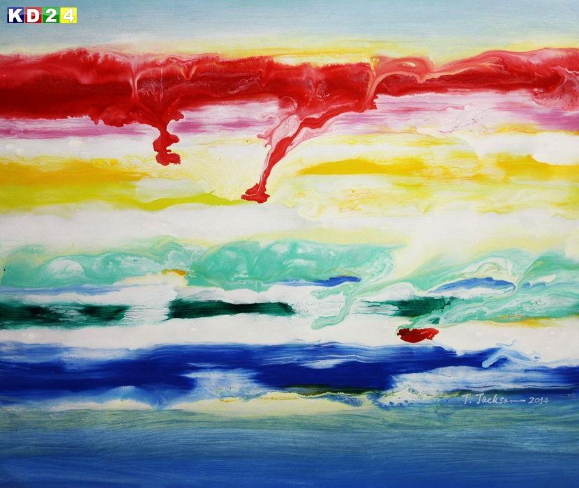 Abstrakt - Fraktale Energie c88914 50x60cm abstraktes Ölgemälde
