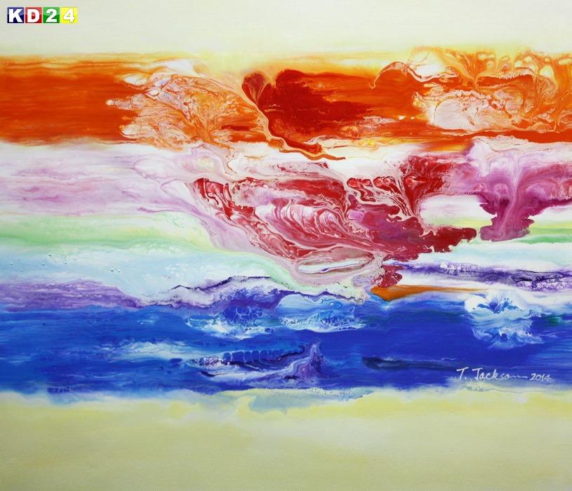 Abstrakt - Fraktale Energie c88927 50x60cm abstraktes Ölgemälde