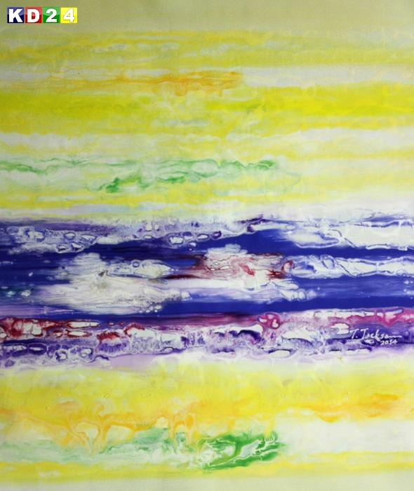 Abstrakt - Fraktale Energie c88931 50x60cm abstraktes Ölgemälde