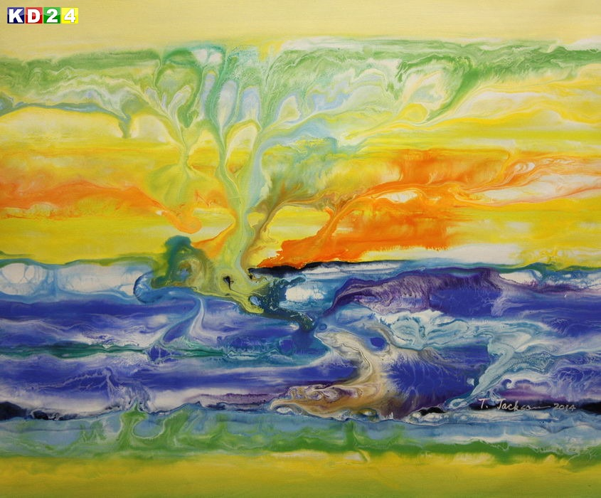 Abstrakt - Fraktale Energie c88933 50x60cm abstraktes Ölgemälde