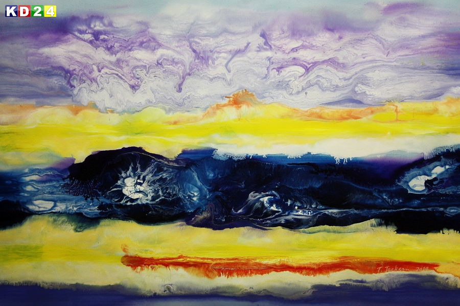 Abstrakt - Fraktale Energie d88784 60x90cm abstraktes Ölgemälde