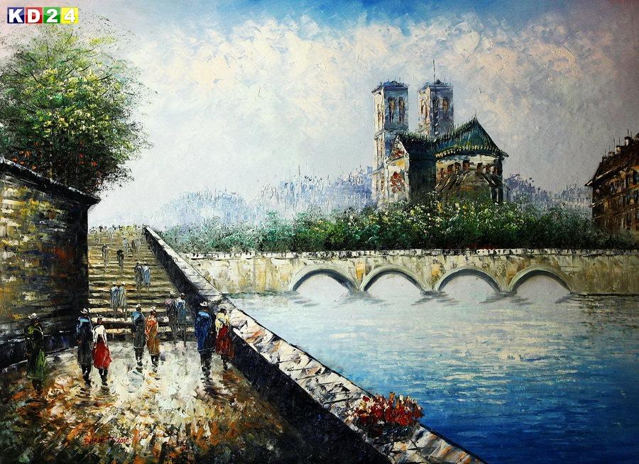 Modern Art - Notre Dame de Paris  k88666 90x120cm fantastisches Ölbild handgemalt