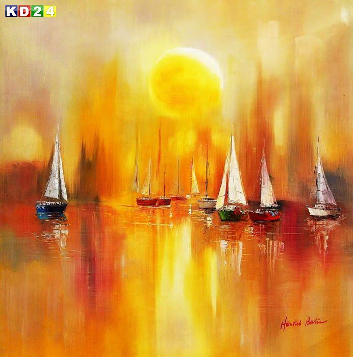 Segelboote auf dem Gardasee g86666 80x80cm modernes Gemälde handgemalt