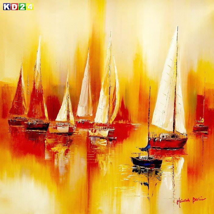 Segelboote auf dem Gardasee g86675 80x80cm modernes Gemälde handgemalt