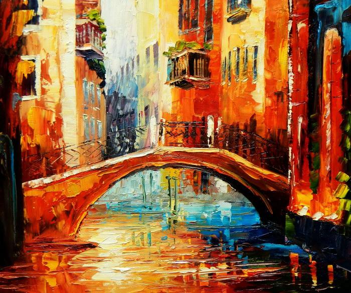 Modern Art - Kanalansicht in Venedig c92169 50x60cm abstraktes Ölbild