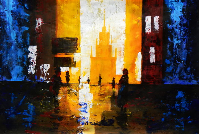 Abstrakt - Berlin Galeries Lafayette d92226 60x90cm abstraktes Ölbild handgemalt