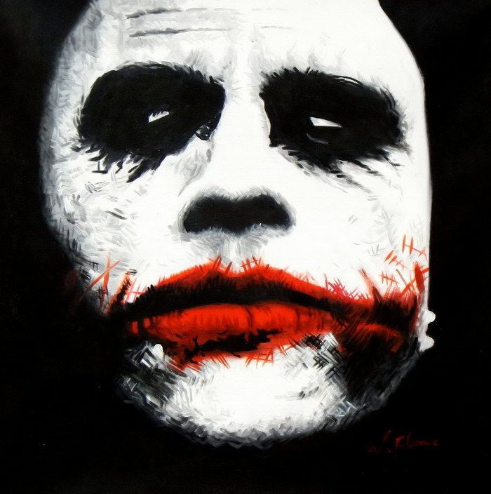 Homage of the Dark Knight - The Joker Heath Ledger e92521 60x60cm exquisites Ölgemälde