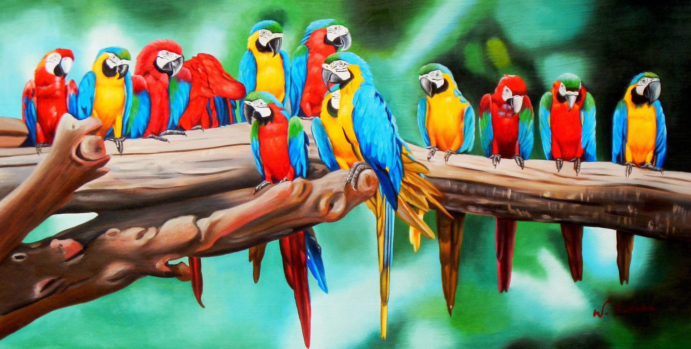 Modern Art - Tutti Frutti Papageien Party f92523 G 60x120cm Ölbild handgemalt