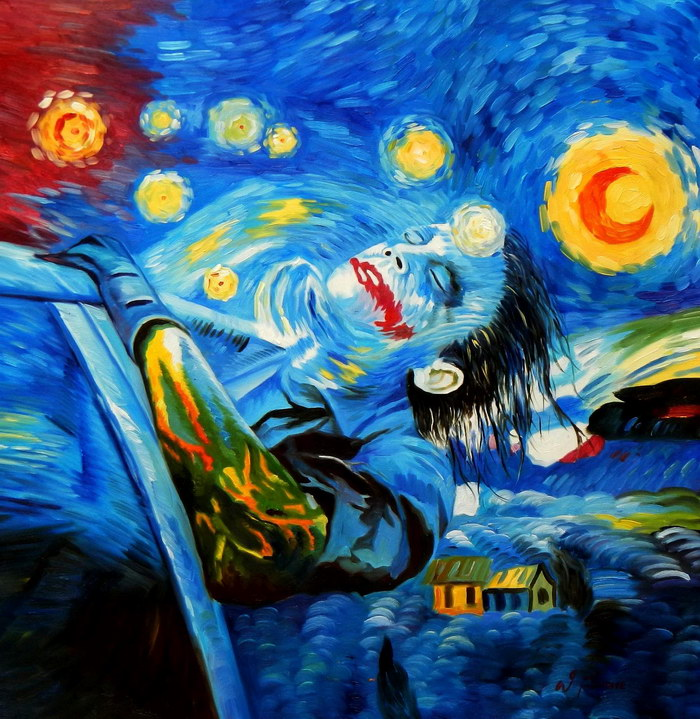 Modern Art - Joker meets starry night g92476 80x80cm exquisites Ölbild