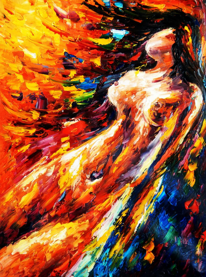 Abstrakt - Verführung im Abendrot i92372 80x110cm modernes Ölbild