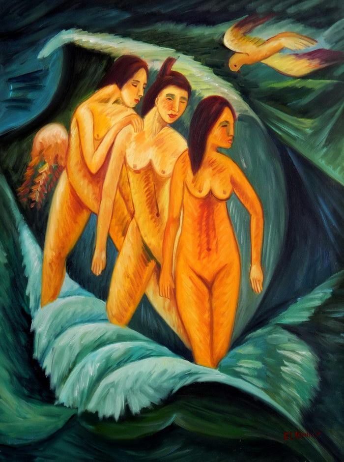 Ernst Ludwig Kirchner - Drei Badende i92373 80x110cm handgemaltes Ölbild