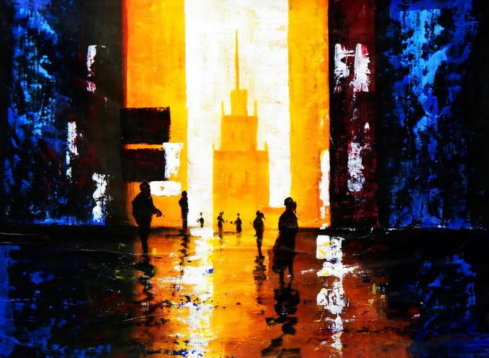 Abstrakt - Berlin Galeries Lafayette i92389 80x110cm abstraktes Ölbild handgemalt