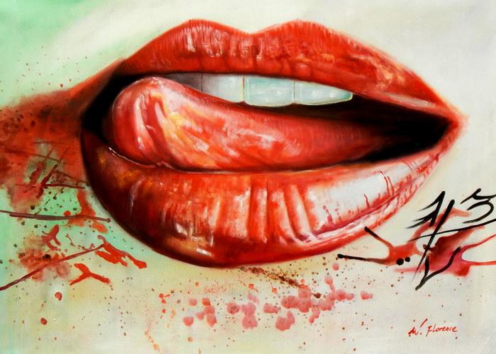 Modern Art - I kissed a girl i92538 80x110cm beeindruckendes Ölgemälde