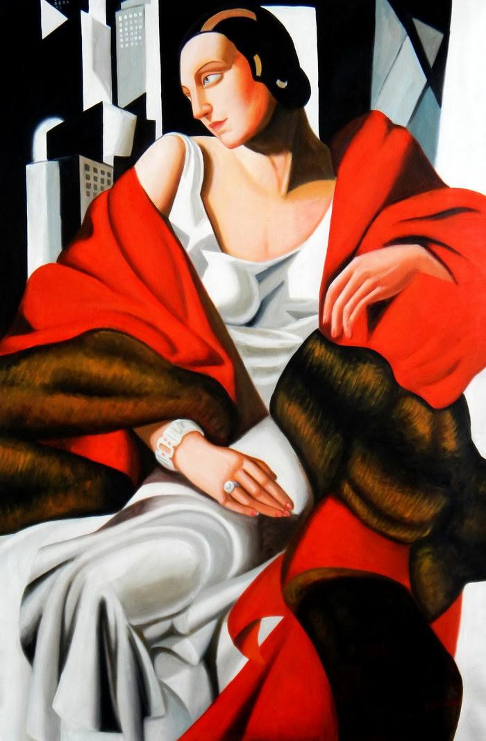 Homage to T. de Lempicka - Portrait der Madame Boucard p92452 120x180cm Art Deco Ölgemälde handgemalt