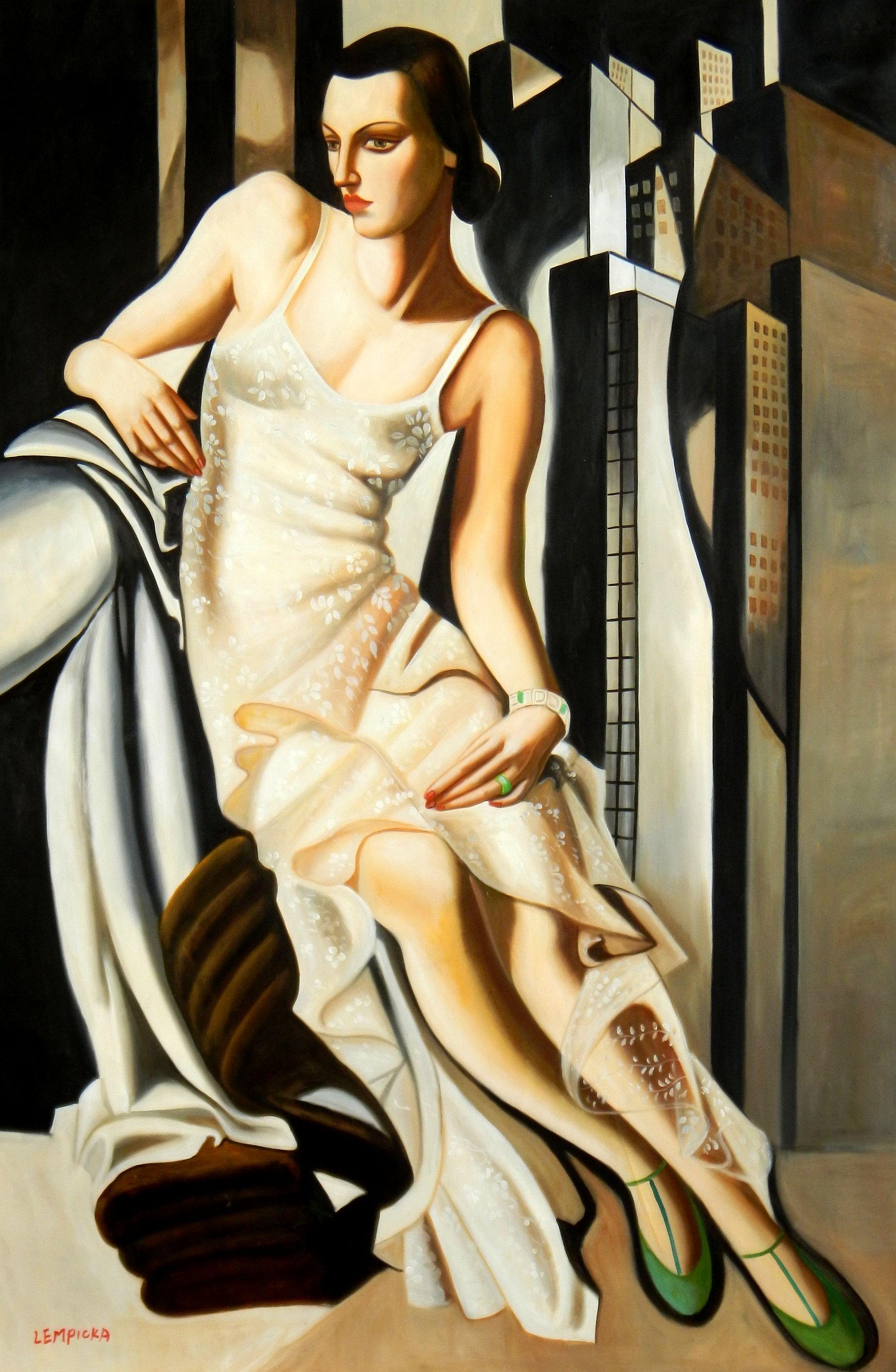 Homage of T. de Lempicka - Portrait der Madame Allan Bott p92548 120x180cm Ölbild handgemalt