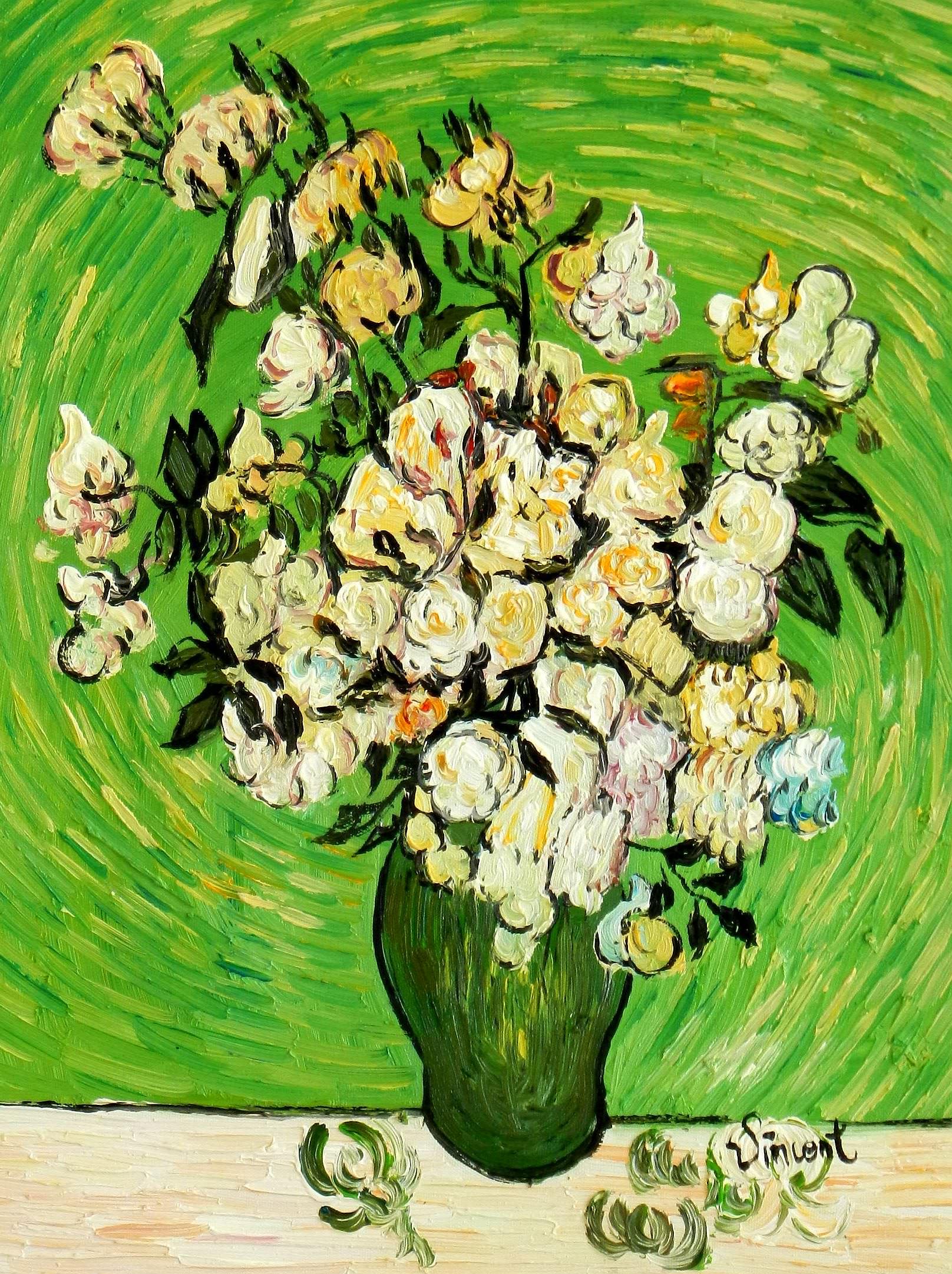 Vincent van Gogh - Vase mit weißen Rosen a95076 30x40cm Ölbild handgemalt