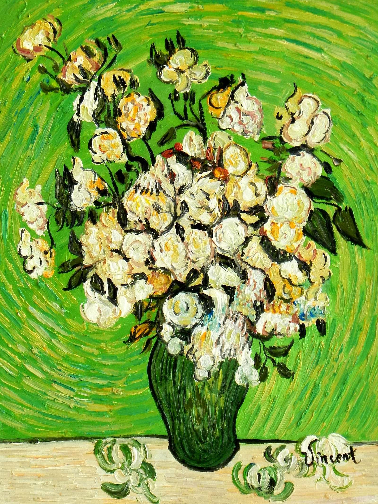 Vincent van Gogh - Vase mit weißen Rosen a95077 30x40cm Ölbild handgemalt