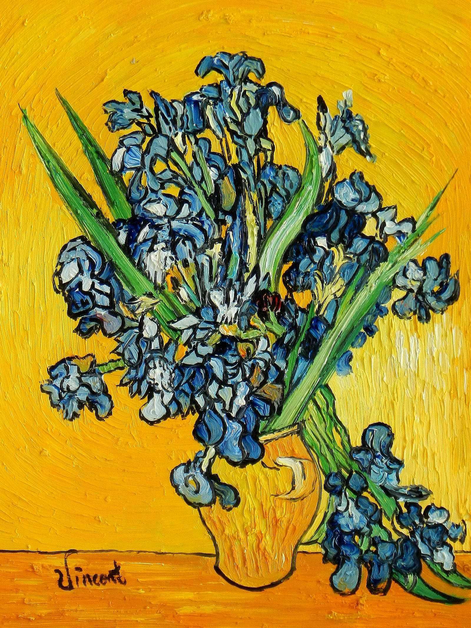 Vincent van Gogh - Vase mit Iris a95078 30x40cm exzellentes Ölbild