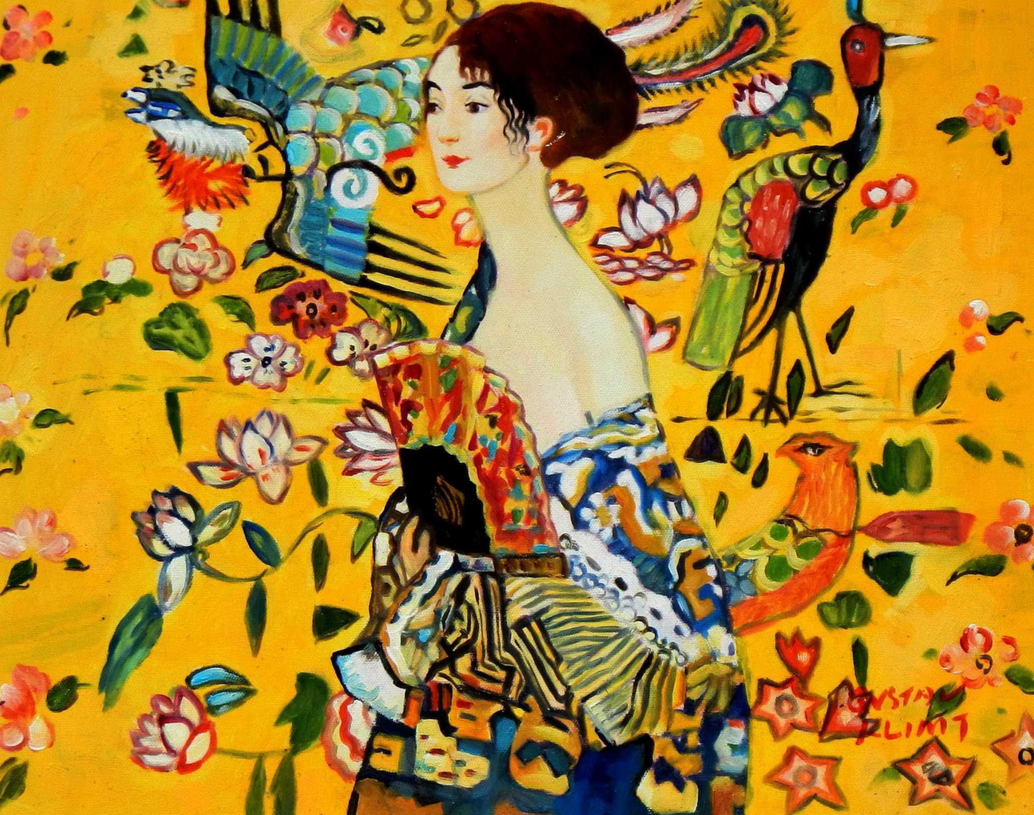 Gustav Klimt - Frau mit Fächer a95079 30x40cm Jugendstil Ölgemälde handgemalt
