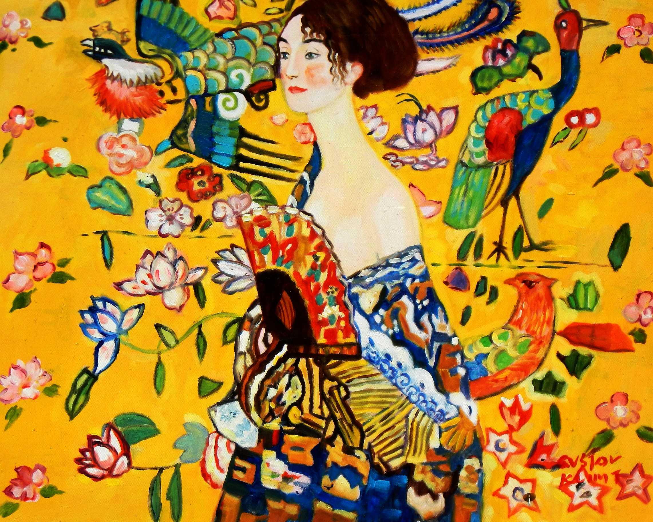 Gustav Klimt - Frau mit Fächer b95089 40x50cm Jugendstil Ölgemälde handgemalt