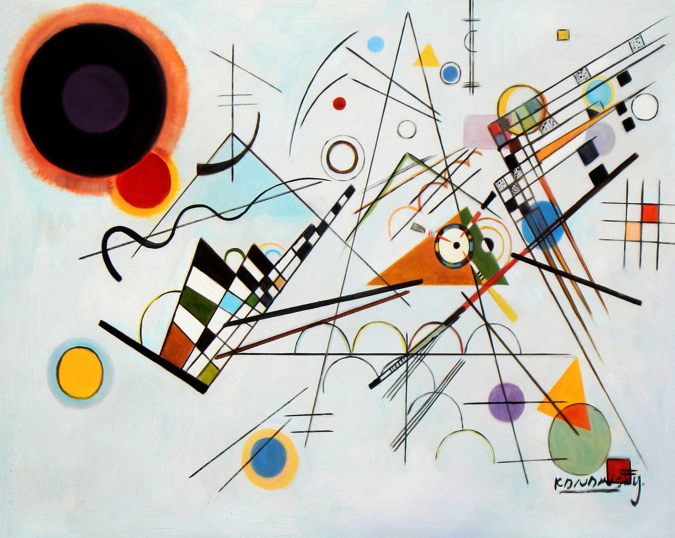 Wassily Kandinsky - Komposition VIII c95121 50x60cm bemerkenswertes Ölgemälde