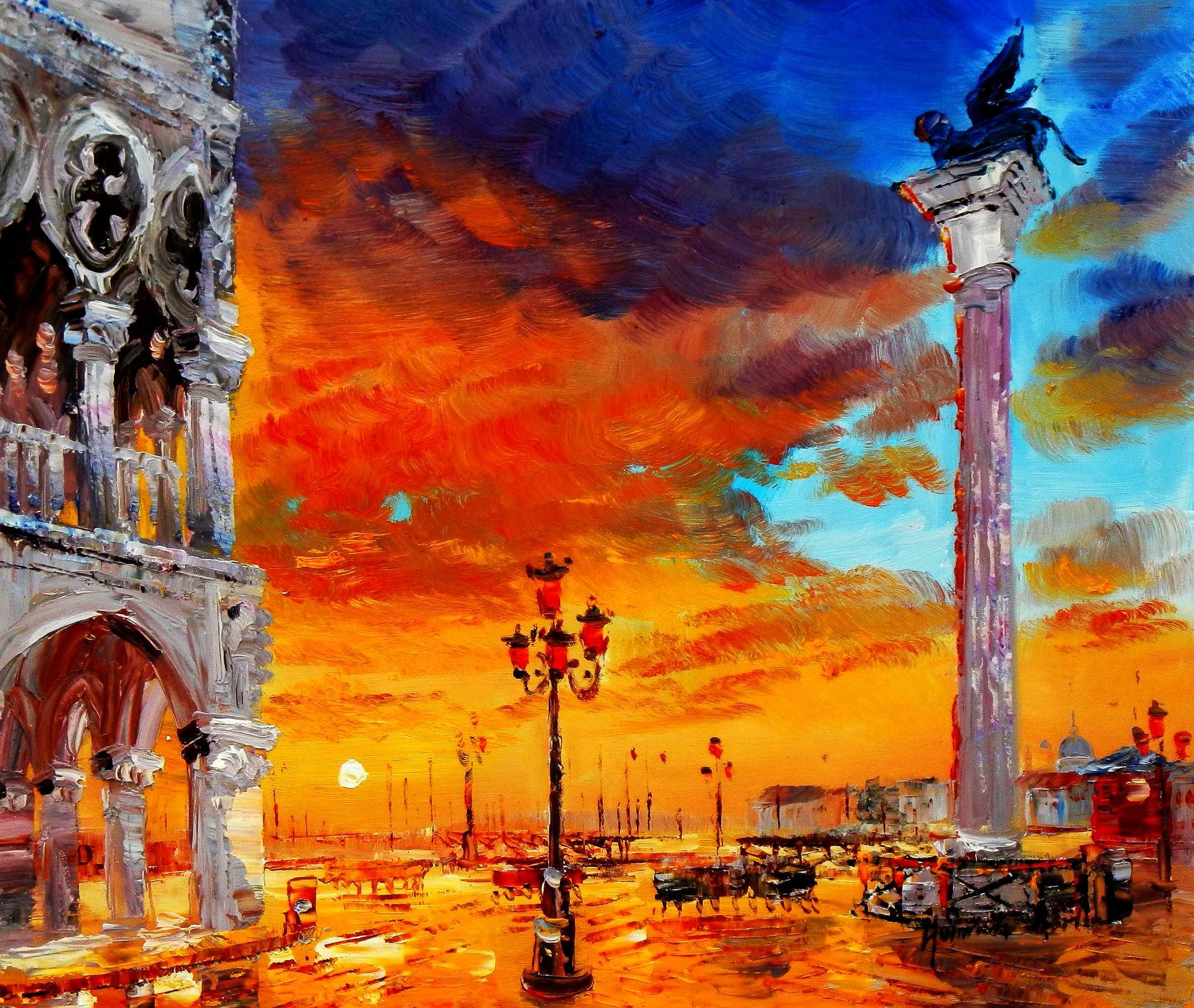 Modern Art - Dogenpalast Venedig c95124 50x60cm beeindruckendes Ölbild