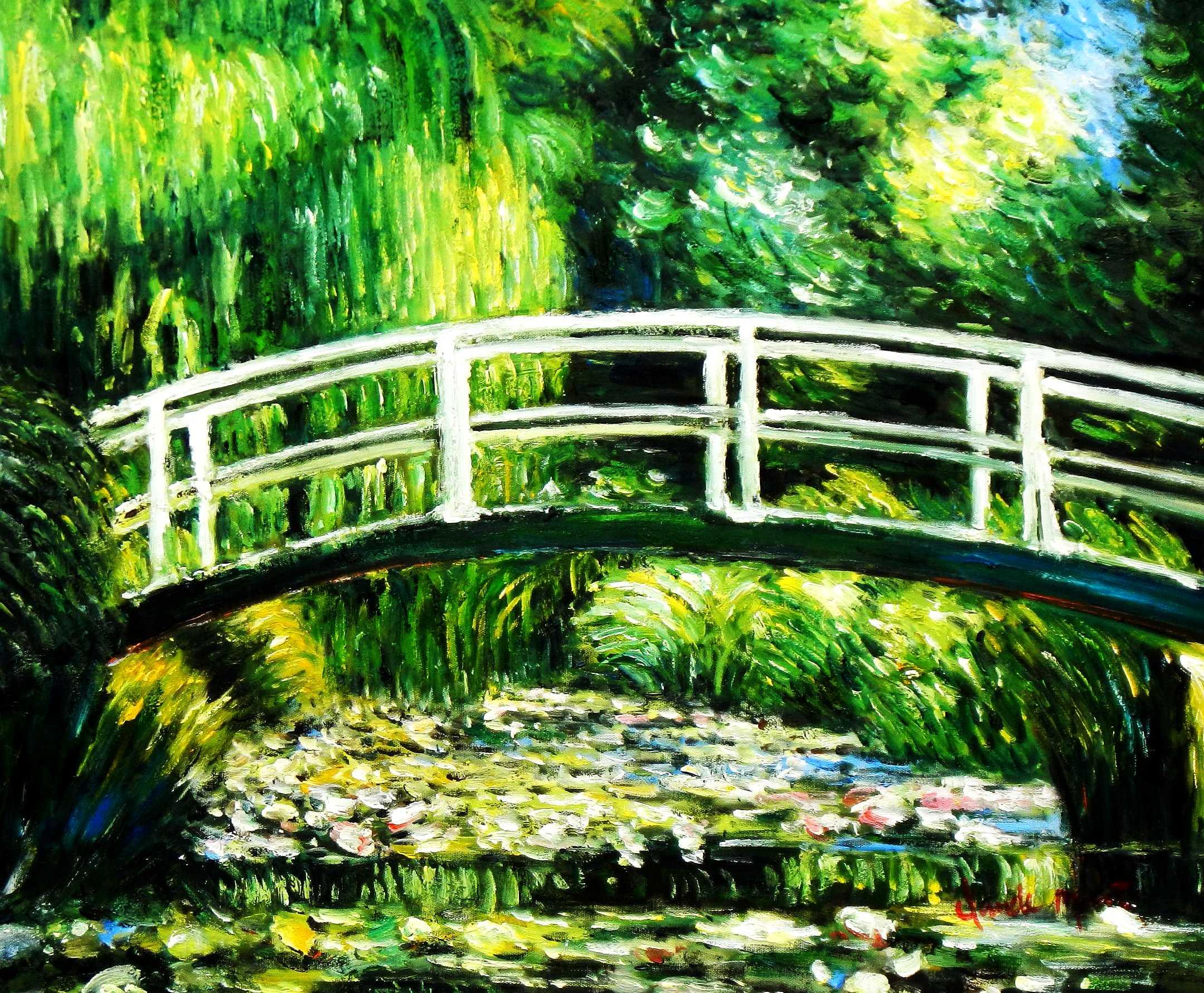 Claude Monet - Brücke über dem Seerosenteich c95128 50x60cm Ölbild handgemalt