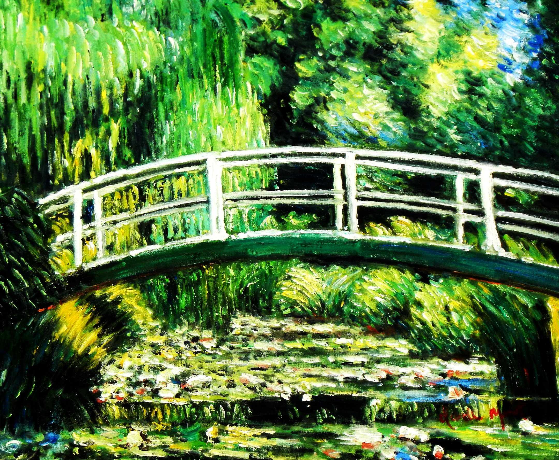 Claude Monet - Brücke über dem Seerosenteich c95129 50x60cm Ölbild handgemalt
