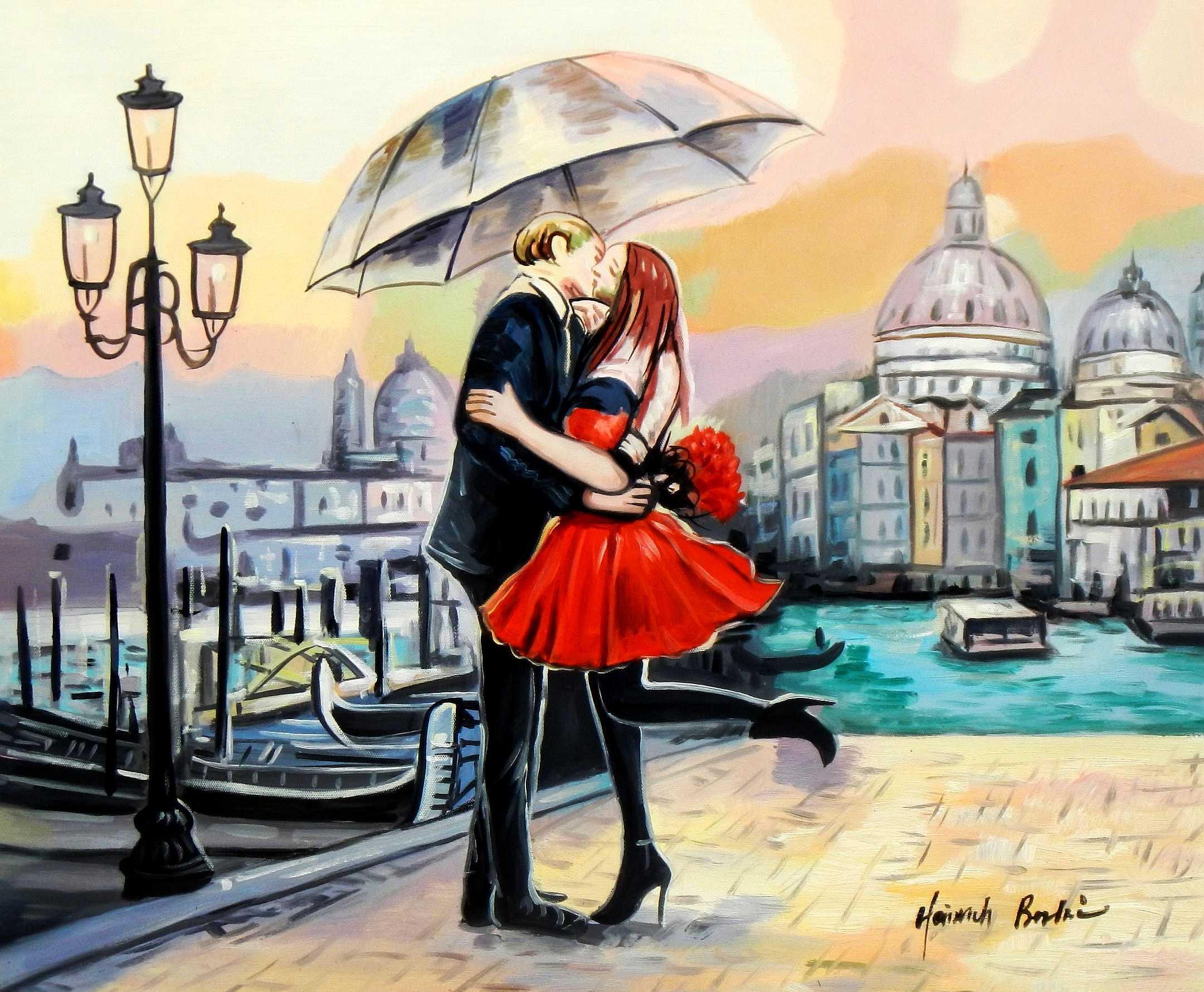 Modern Art - Umbrella love c95130 50x60cm modernes Ölgemälde
