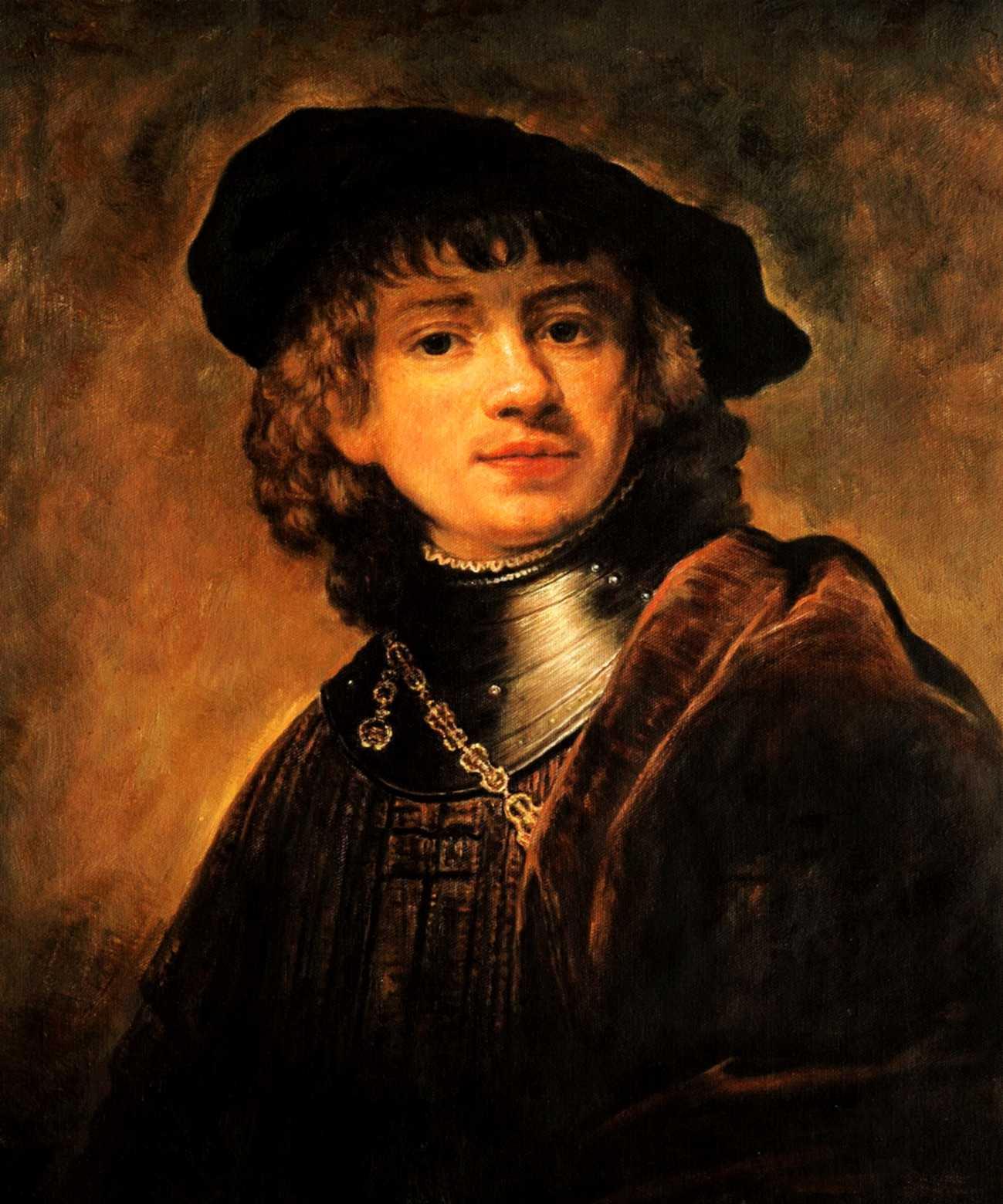 Rembrandt - Selbstportrait als junger Mann c95343 50x60cm exzellentes Ölgemälde Museumsqualität