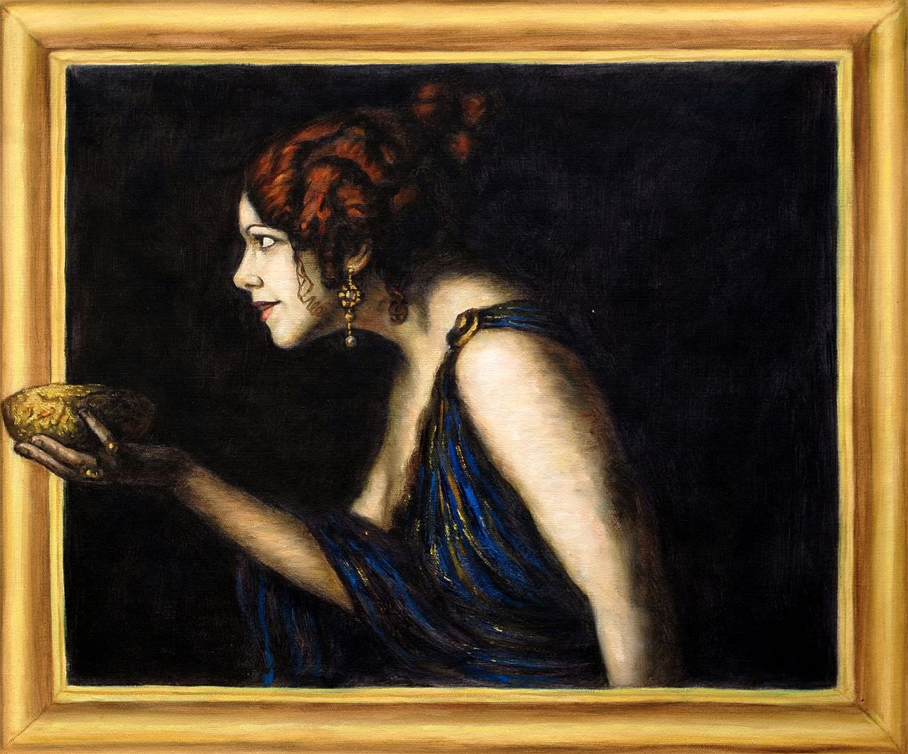 Franz von Stuck - Tilla Durieux als Circe 3d optik c95346 G 50x60cm edles Ölgemälde handgemalt Museumsqualität
