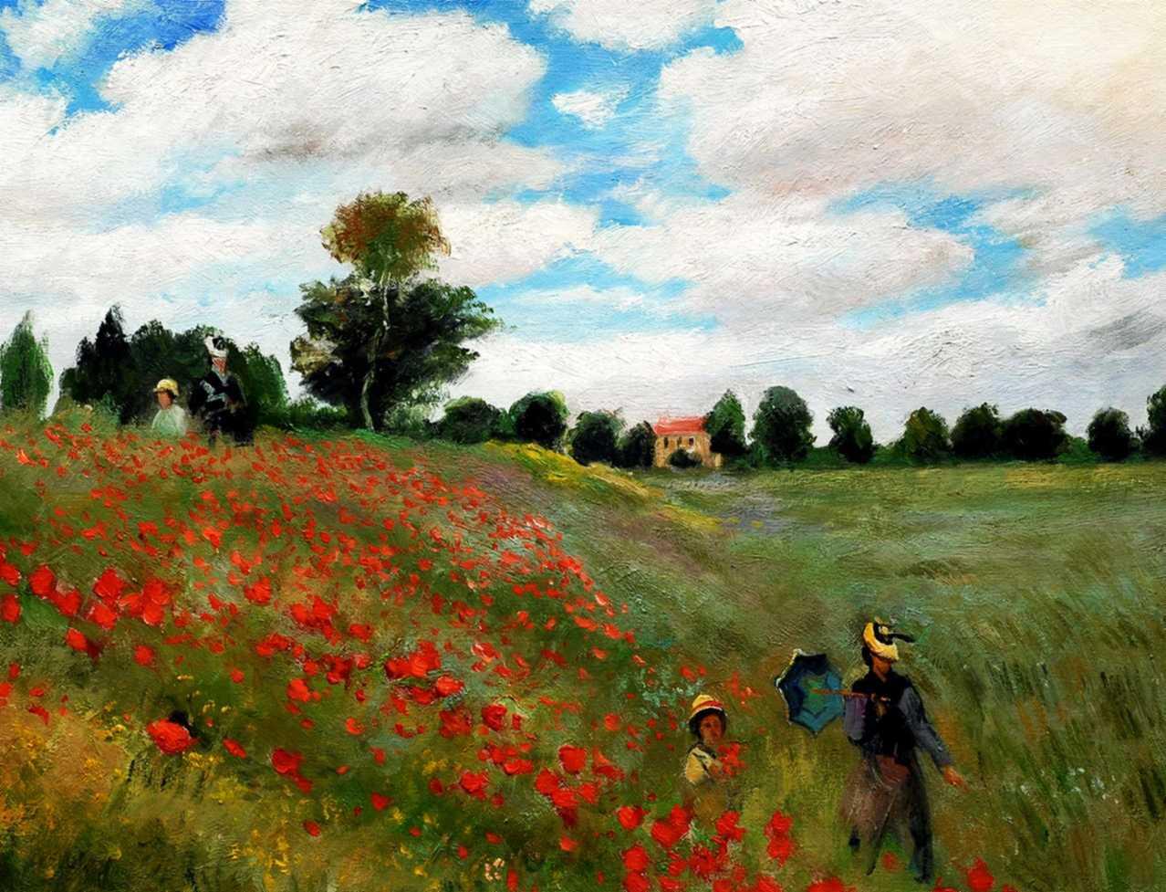 Claude Monet - Mohnfeld bei Argenteuil c95347 50x60cm exzellentes Ölbild Museumsqualität