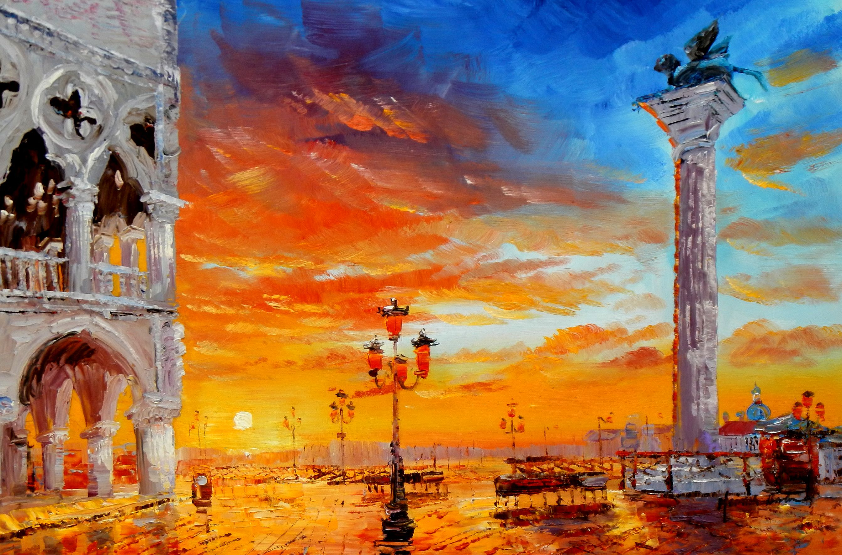 Modern Art - Dogenpalast Venedig d95149 60x90cm beeindruckendes Ölbild