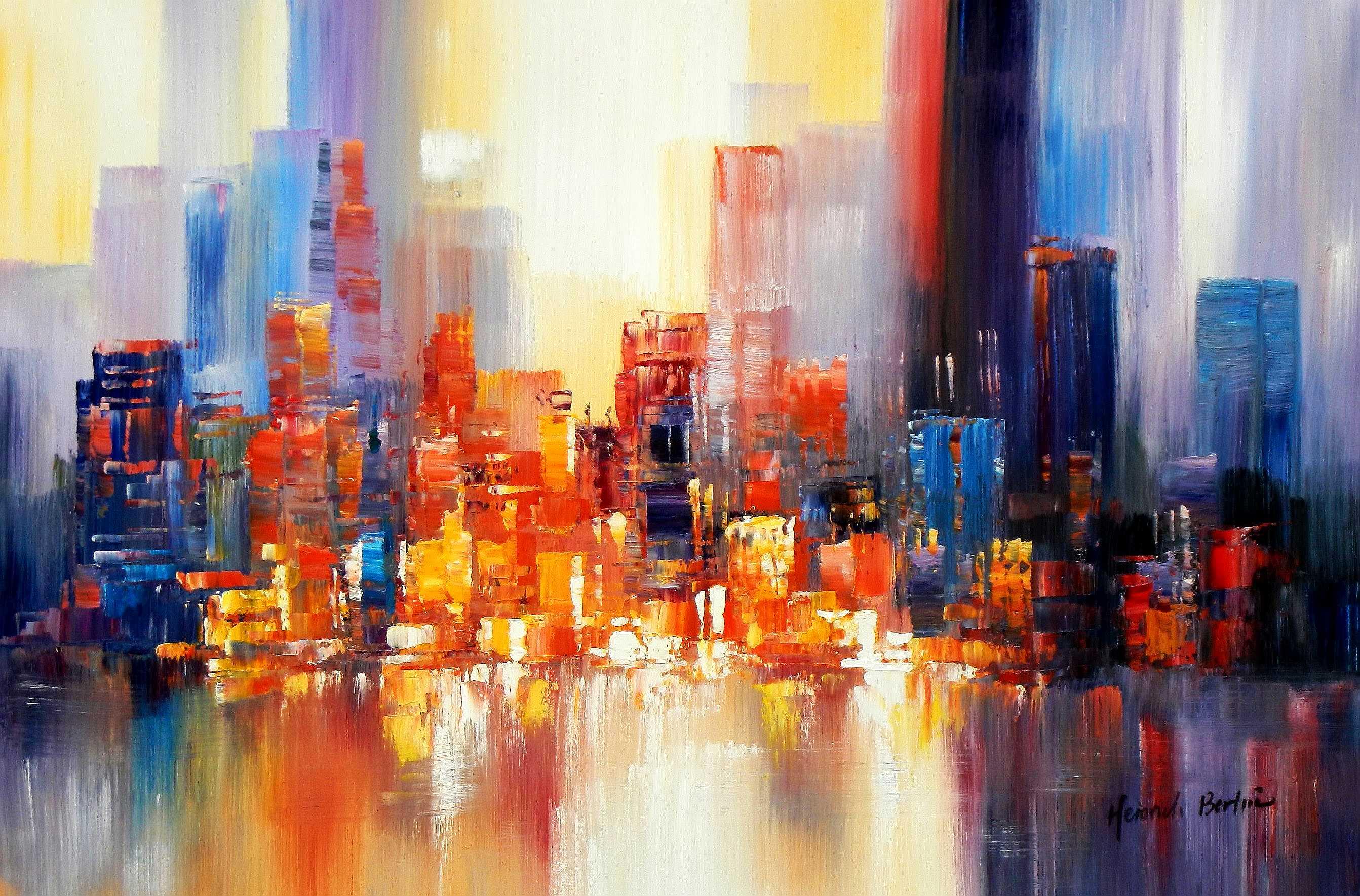 Abstrakt New York Manhattan Skyline bei Nacht d95150 60x90cm Gemälde handgemalt