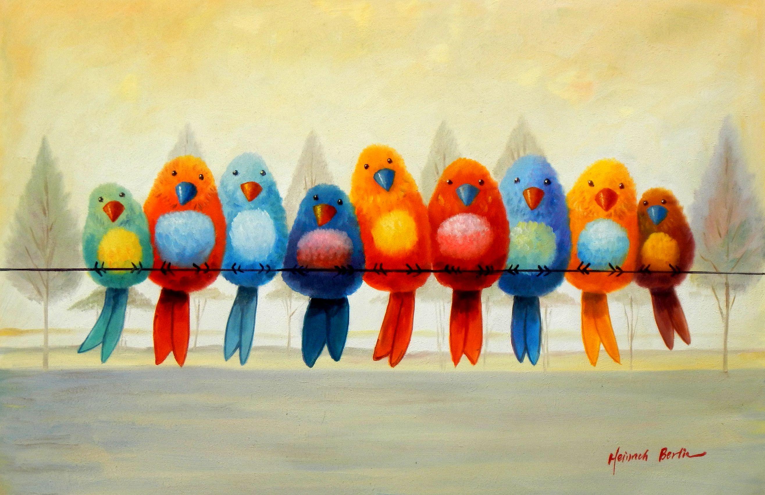 Modern Art - Lucky Birds d95155 60x90cm lustiges Ölgemälde