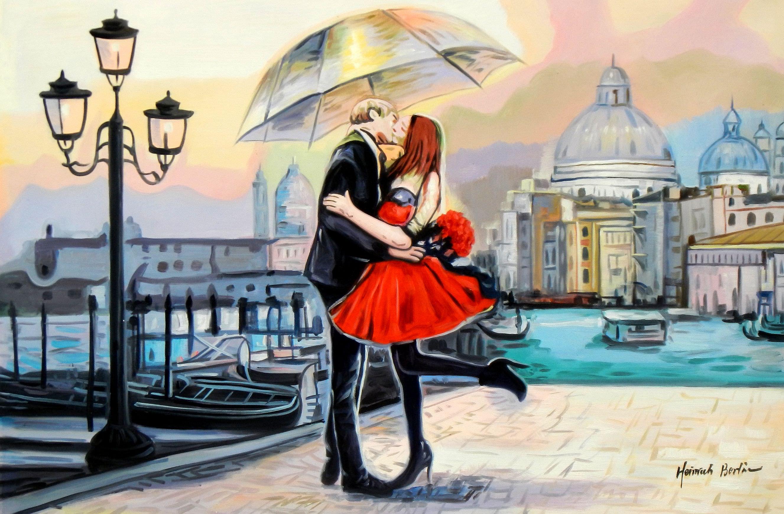 Modern Art - Umbrella love d95156 60x90cm modernes Ölgemälde