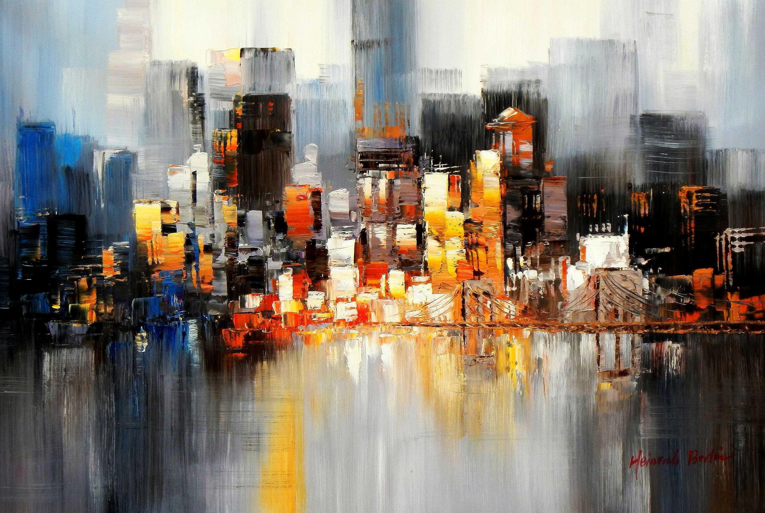 Abstrakt New York Manhattan Skyline bei Nacht d95159 60x90cm Gemälde handgemalt