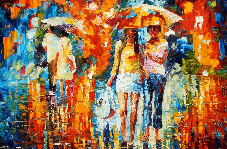 Modern Art - Umbrella walk d95168 60x90cm modernes Ölgemälde