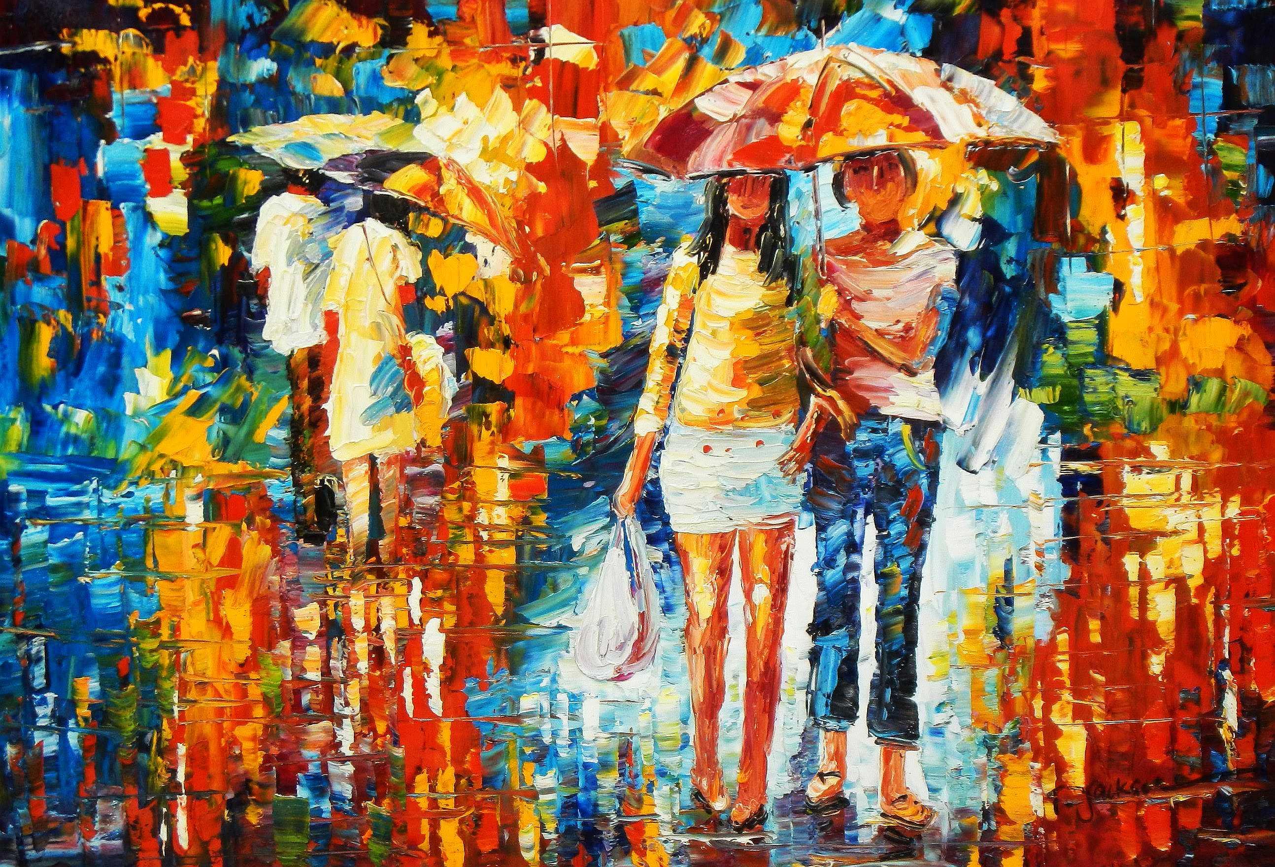 Modern Art - Umbrella walk d95172 60x90cm modernes Ölgemälde