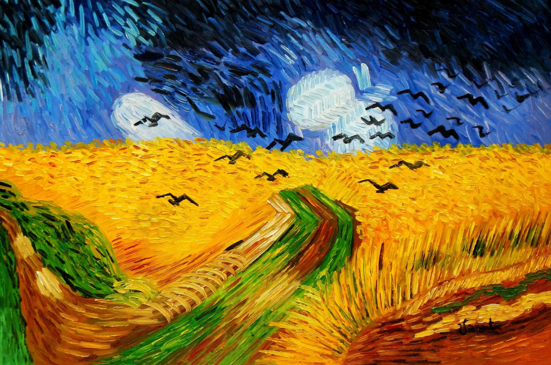 Vincent van Gogh - Kornfeld mit Krähen d95185 60x90cm Ölgemälde handgemalt