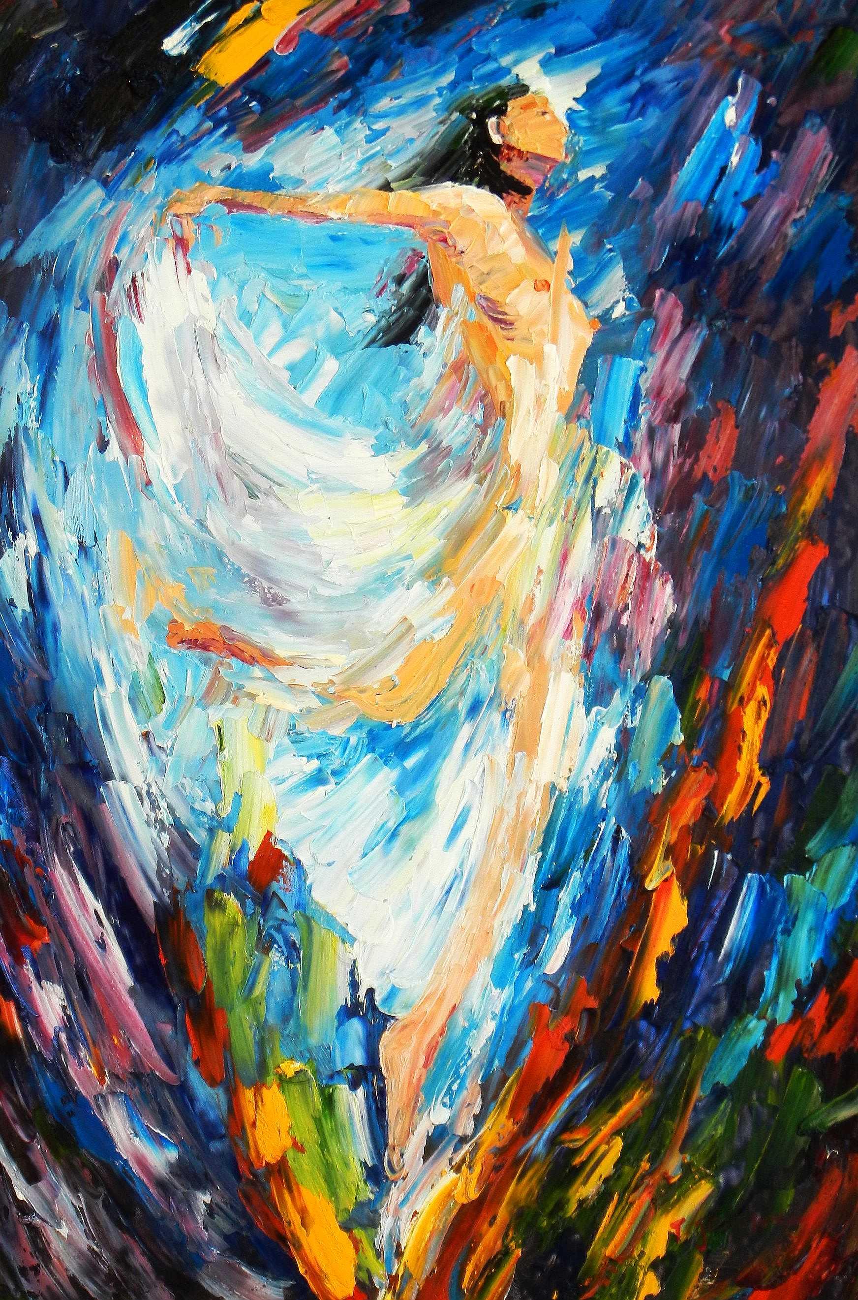 Abstrakt - Kraft durch Tanz d95193 60x90cm handgemaltes Ölgemälde