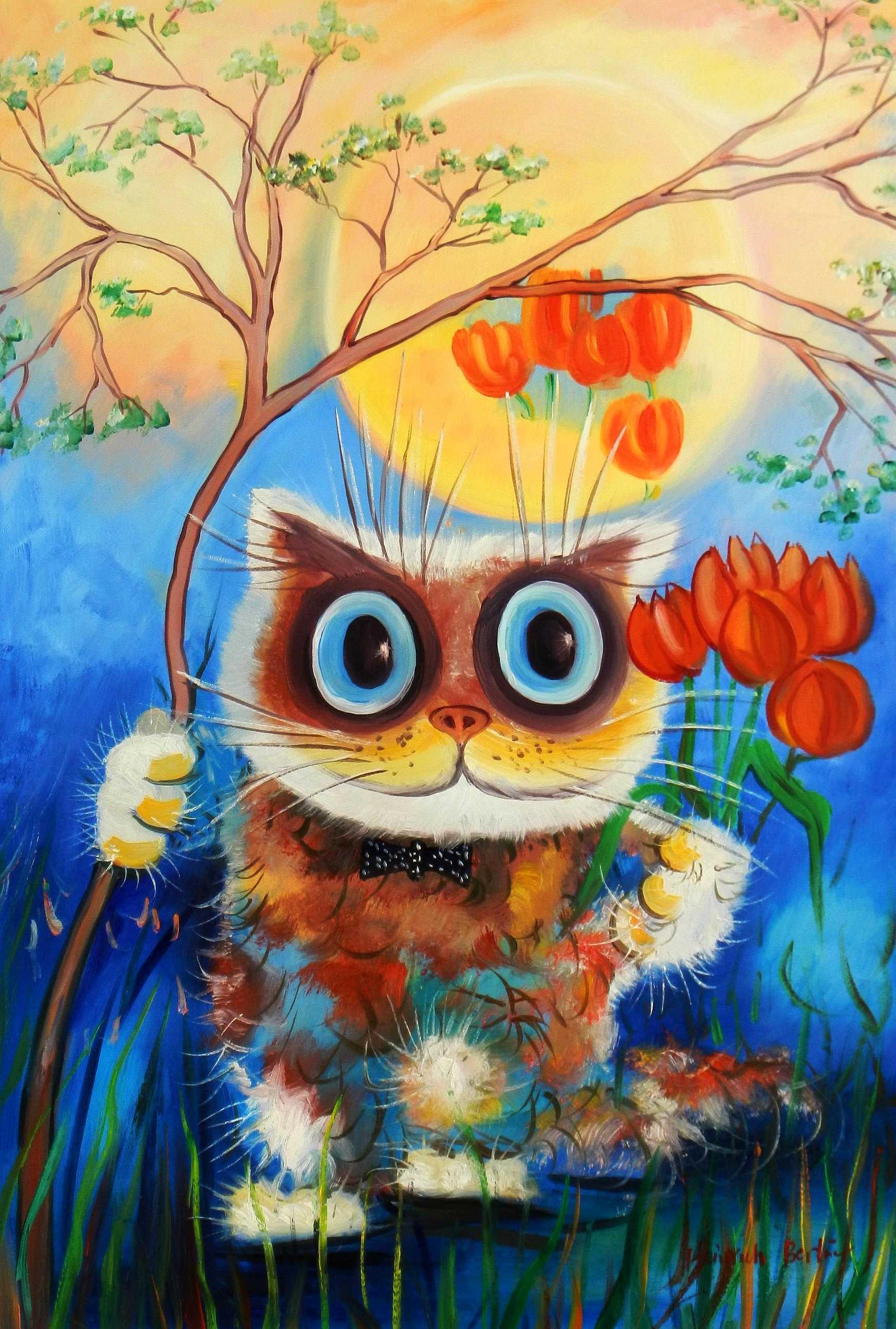 Modern Art - Stonie die Katze d95196 60x90cm lustiges Ölbild