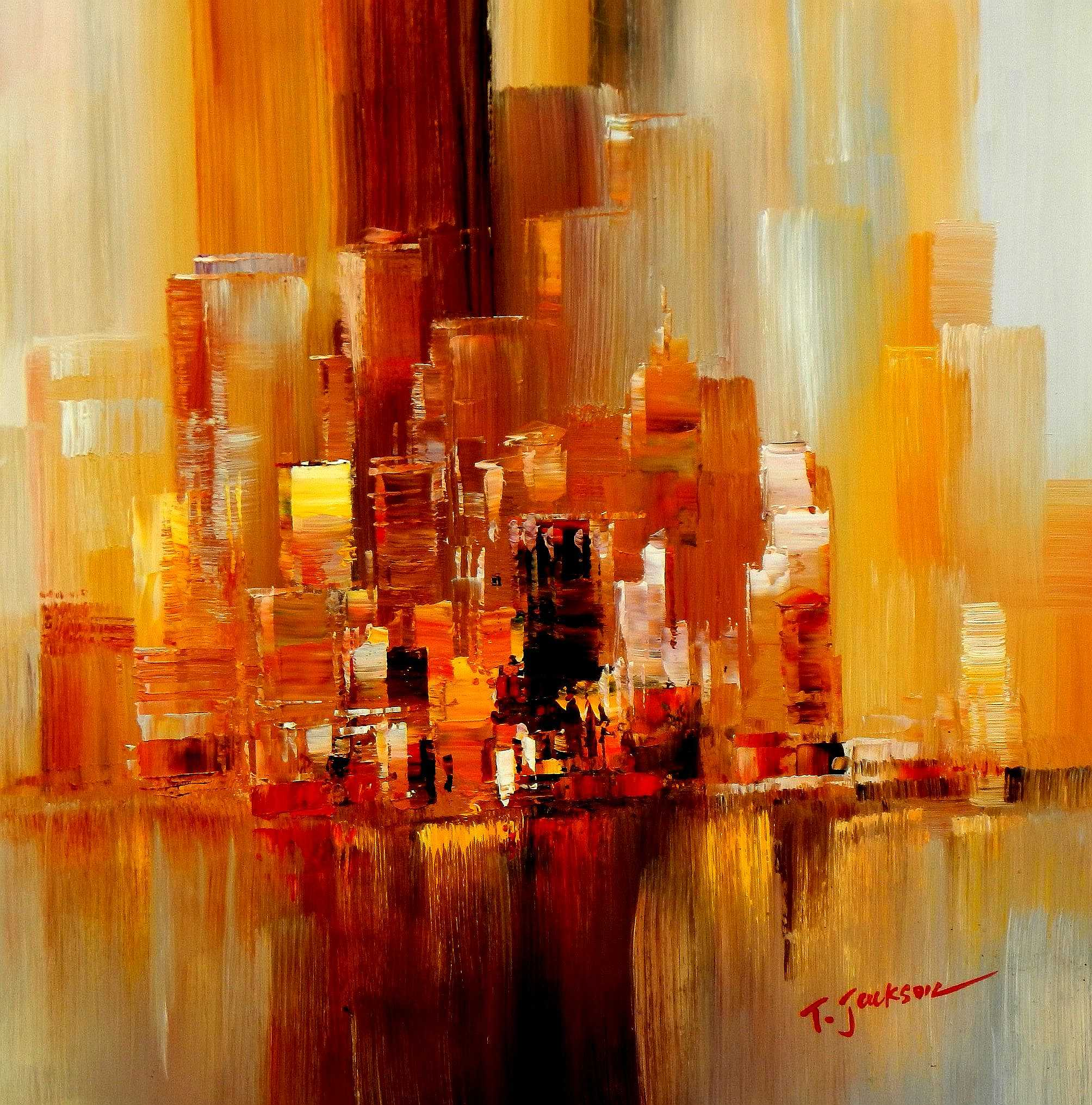 Abstrakt New York Manhattan Skyline im Herbst e95206 G 60x60cm abstraktes Ölbild