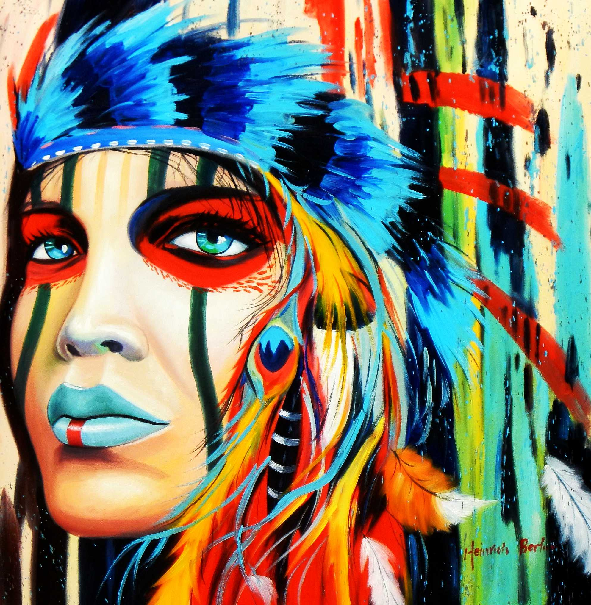 Modern Art - Grand Cherokee e95210 60x60cm exzellentes Ölgemälde
